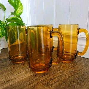 Set of 4 Tall Amber glasses